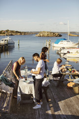 Young multi-ethnic friends preparing lunch at harbor against sky on sunny day