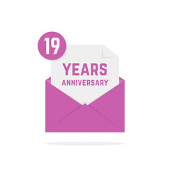 19 years anniversary icon in lilac open letter