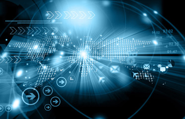 Digital world. Futuristic technology. 3d illustration .
