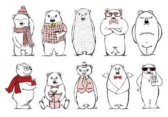 Hand drawn hipster bears set. Hand drawn print style
