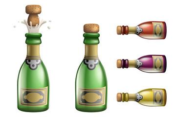 Celebration champagne Popping Cork Bottle Pledge Success Prosperity Symbol Drink Icons Set 3d Realistic Template Vector Illustration