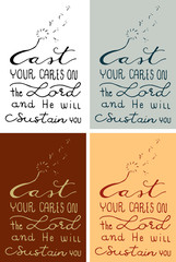 Christianity calligraphy bible verse of cast your cares on the Lord and he will sustain you by hand drawn illustration