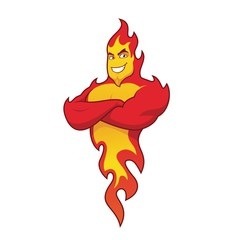 Muscular fire flame cartoon character with arms crossed