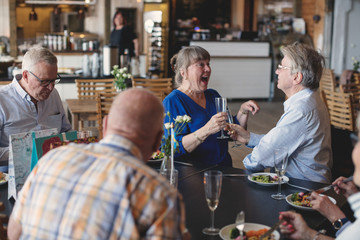 Senior couple toasting flutes while having lunch with friends in restaurant