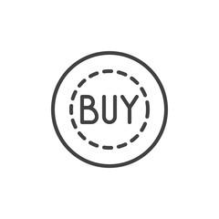 Buy badge line icon, outline vector sign, linear style pictogram isolated on white. Label sticker symbol, logo illustration. Editable stroke