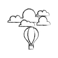 figure air balloon fly with cloud natural weather