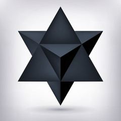 Merkaba, 3d black crystal, dark geometry shape, volume star, mesh form, abstract vector object