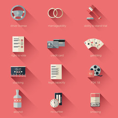 Finally adult icon vector set