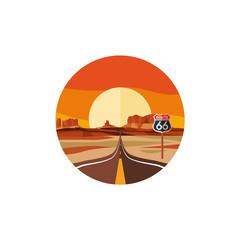 Route 66 landscape vector illustration