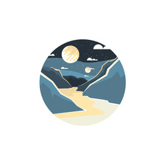 Space landscape vector illustration