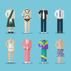 Set of male outfits vector illustration