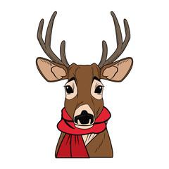 Cute reindeer with scarf cartoon