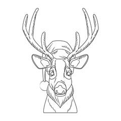 Christmas reindeer pop art cartoon