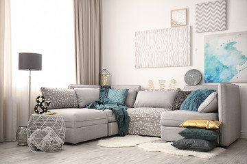 Modern interior with comfortable sofa
