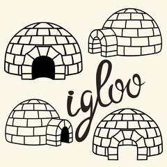 Ice house igloo sign, vector simple design. House from ice blocks design for template or logo. Winter dwelling of Eskimos, minimal icon isolated on light background. Igloo realistic icon in flat style