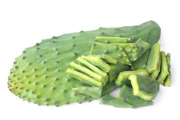 Photo sur Aluminium Cactus Edible green pads of Opuntia cactus