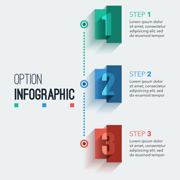 rectangle option infographic, abstract number illustration infographics, flat design colorful template for layout, presentation, web design, business step options, banner, background