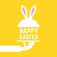 serving hand with happy easter bunny
