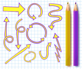 VECTOR set of sketched arrows with two realistic pencils in yellow and purple colors on notebook page.