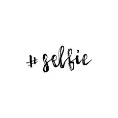 Selfie hashtag lettering. Brush hand lettering. Brush calligraphy. Handwritten word selfie.