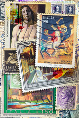 Foto op Aluminium Imagination Vecchi francobolli italiani