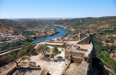The view from the Keep tower of Mertola Castle. Mertola. Portugal