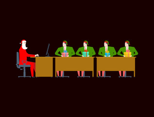 Santa Claus Meeting. Christmas office. Elf and gift. New Year work. Vector illustration