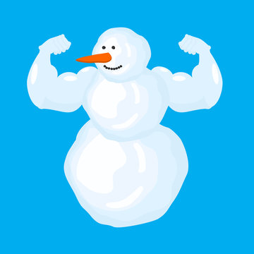 Strong snowman isolated. Winter fitness. Snow Sports. Vector illustration