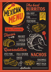 Mexican menu restaurant, food template.