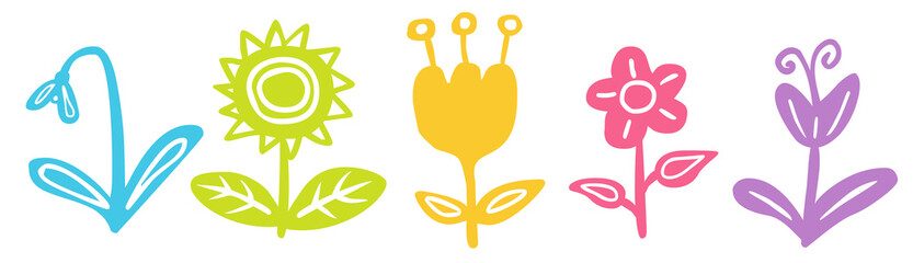 Set: Blumen-Zeichnung / farbig, Vektor, freigestellt