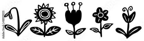 Set Blumen Zeichnung Schwarz Weiss Vektor Freigestellt