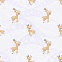Seamless pattern with the image of reindeers. Vector background.