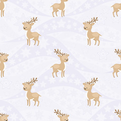 Seamless pattern with the image of reindeers . Vector background.