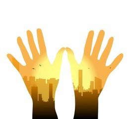 illustrazione vettoriale di panorama urbano di metropoli sul palmo delle mani