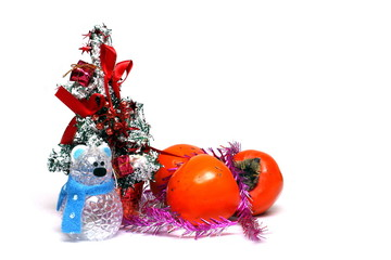 Christmas decorations and fruits