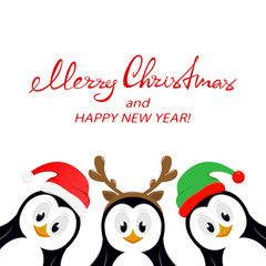 Text Merry Christmas and three penguins on white background