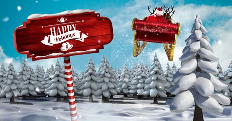 Happy Holidays text on Wooden signpost in Christmas Winter