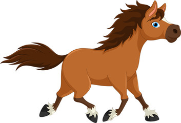 Cute horse cartoon running