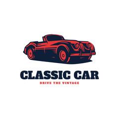 Classic car illustration, Classic Car Logo Badge