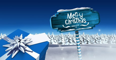 Merry Christmas and gift with Wooden signpost in Christmas