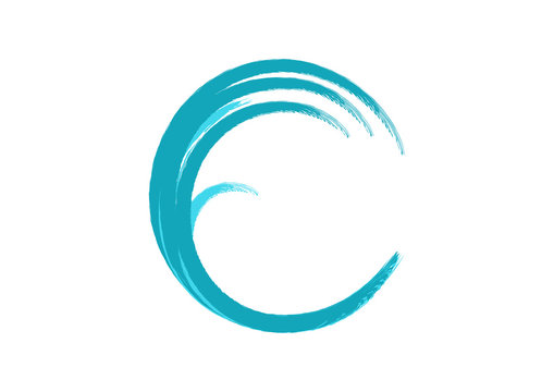 Circle Blue Wave like Letter C Illustration Logo Symbol