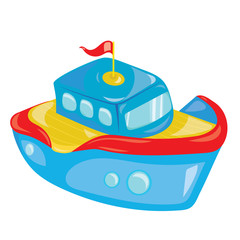 Cartoon boat on white background. A toy ship for children. Colorful vector illustration for kids.