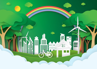 Eco green city.Save the world and environment conservation concept.Urban landscape for green energy paper art style.Vector illustration.