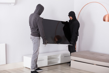 Robbers Stealing Television From Living Room