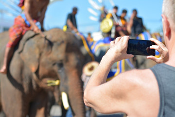 The tourists are taking pictures of elephants show.