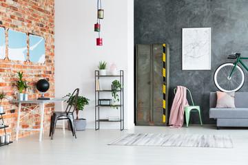 Spacious contrast color loft interior