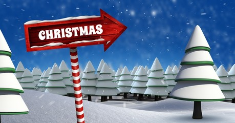 Christmas text and Wooden signpost in Christmas Winter landscape