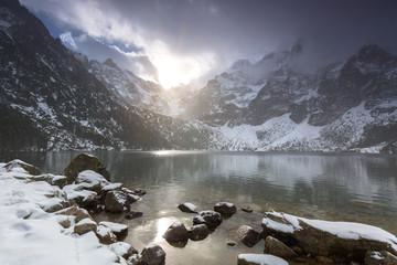 Beautiful winter in Tatra mountains at Eye of the Sea lake, Poland