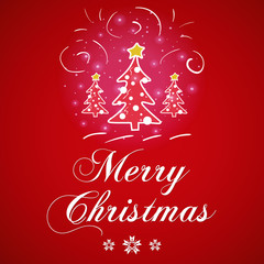 Merry Christmas greeting card with Christmas trees on red background vector illustration