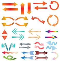 multicolors arrow icon on white background. colors arrow sign. flat style.